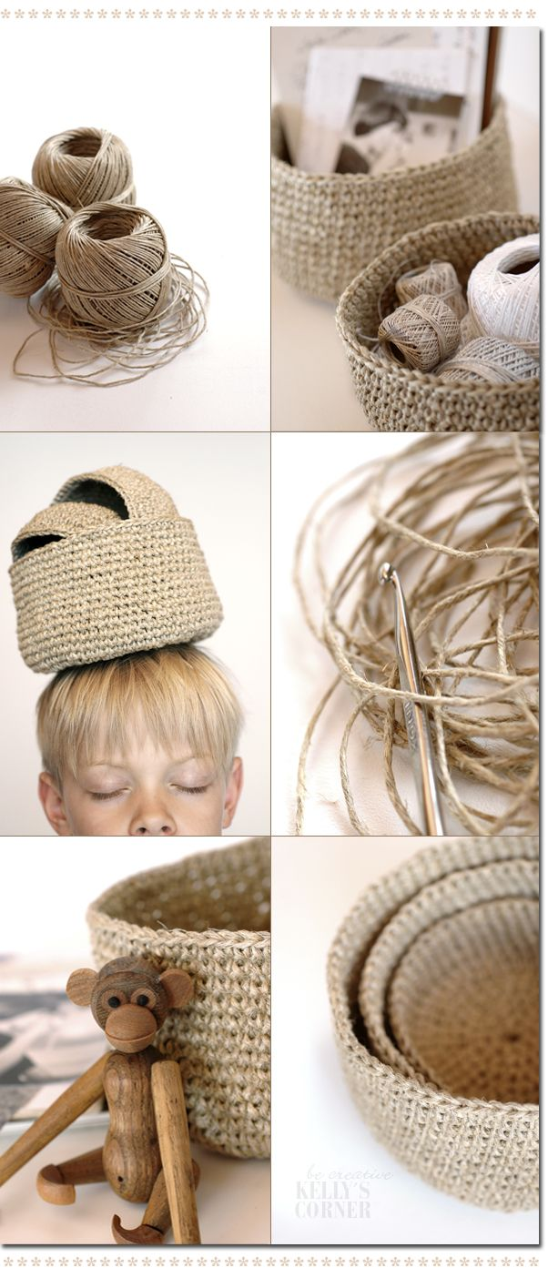 Crochet baskets made with twine: Now just wish I knew how to crochet.
