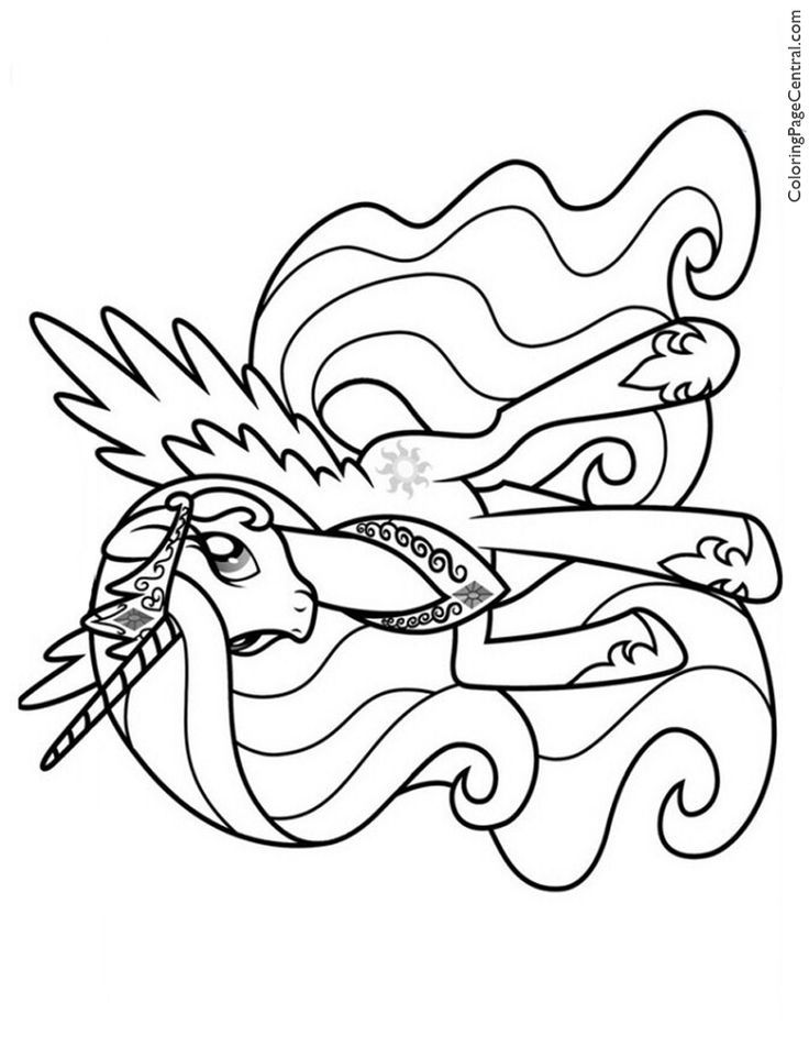 My Little Pony Princess Celestia 02 Coloring Page Celestia Coloring Page Pony Prin My Little Pony Coloring Unicorn Coloring Pages Princess Coloring Pages