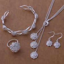 dámske šperky postriebrené módne Rose Ring náramok náušnice Náhrdelník nastaviť AT209