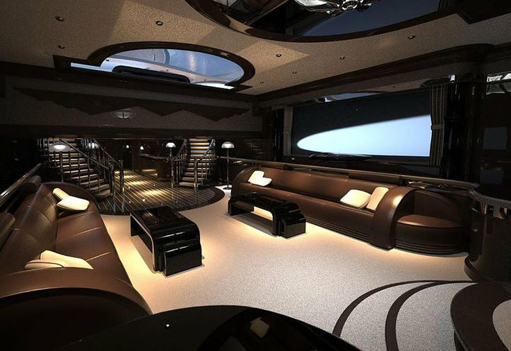 Luxurious And Sporty Black Interior Of A Super Yacht