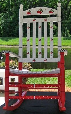 This is the cutest Cherry rocking chair ever!<3 #painted #furniture