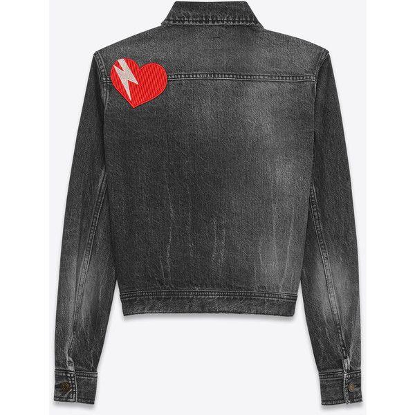 Saint Laurent Original Ysl Heart And Lightening Bolt Patch Jean Jacket ($1,935) ❤ liked on Polyvore featuring outerwear, jackets, jean jacket, yves saint laurent, yves saint laurent jacket, patch jacket and patched denim jacket