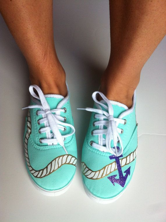 hand-painted SHOES- Anchor's Away Design-women's size 6-11- custom painted sneakers on Etsy, $30.00