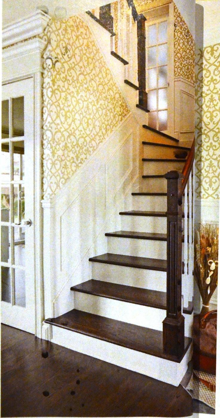 Caissons pour escalier + mur plus ouvert (Revue Je décore  ~ Moulure Escalier Bois
