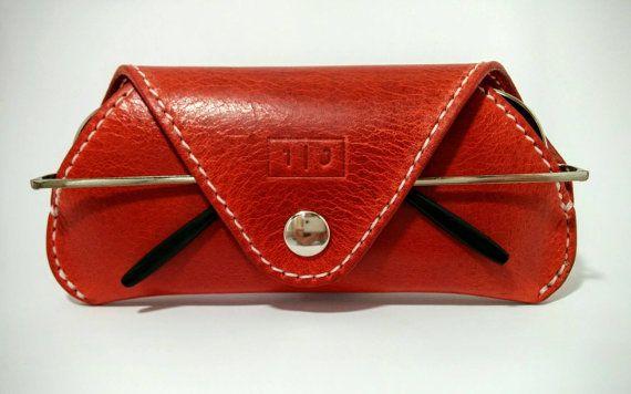 Handmade, red leather glasses / sunglasses case - For men or women
