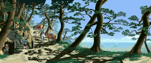 """a-steelix: """"SNK games and their Backgrounds part 11/X """" All from The Last Blade, parts 1 and 2 (or all from 2?)"""