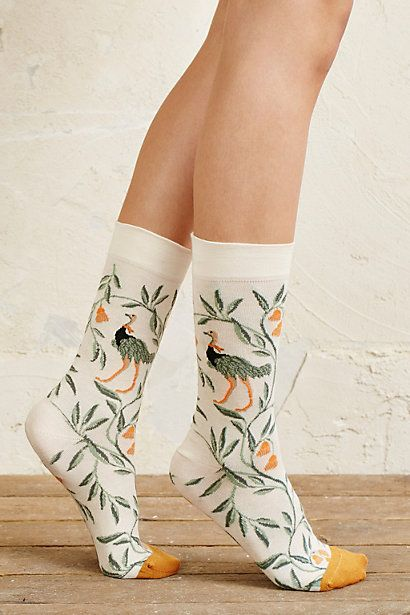 Botanical Peacock Socks #anthropologie