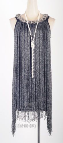 1920's Flapper Dress Clubwear Sexy Latin Blue White Black Gold Tassel Dress MMS   eBay