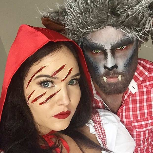little red riding hood and wolf couples halloween costume - Couple Halloween Costumes Scary