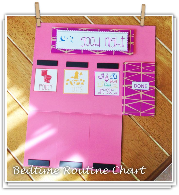 Made bedtime and morning routine chart from a file folder. *UPDATE: Hot glue a wood paint stirrer to the back for support. (The ones you get free at the hardware paint dept). With daily use and humidity ours was getting a bit weak. Perfect Fix!