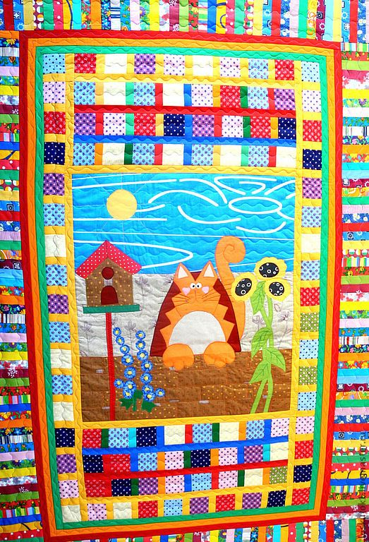 Купить лоскутное одеяло детское РЫЖИЙ КОТ МУР лоскутное покрывало для детей