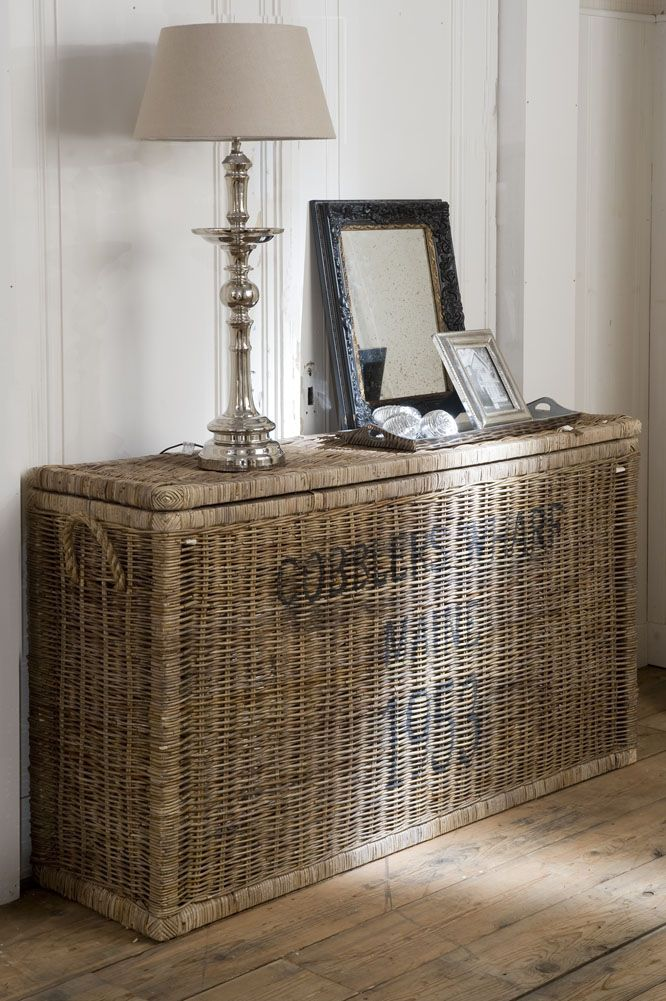 vintage basket and console table in one burlap rattan banana leaf raffia baskets and more. Black Bedroom Furniture Sets. Home Design Ideas