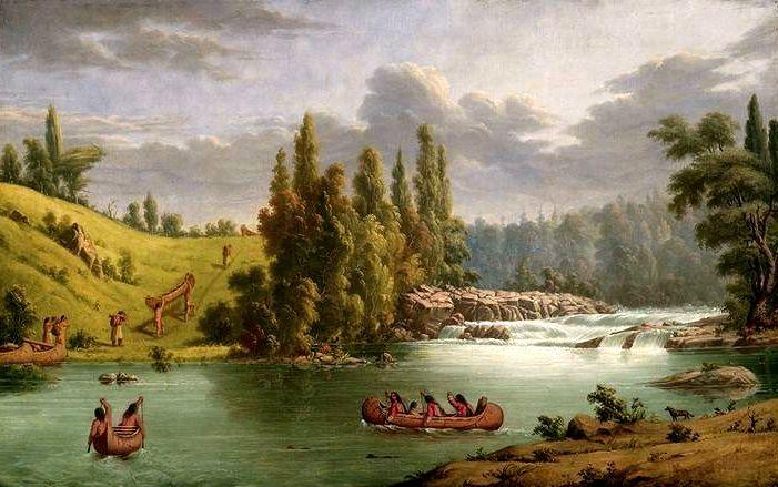White Mud Portage sul Winnipeg River. Un gruppo di Saulteaux of Lake Winnipeg affronta il breve portage che li porterà oltre le rapide del fiume, trasportando in spalla le leggere canoe di corteccia dei betulla.