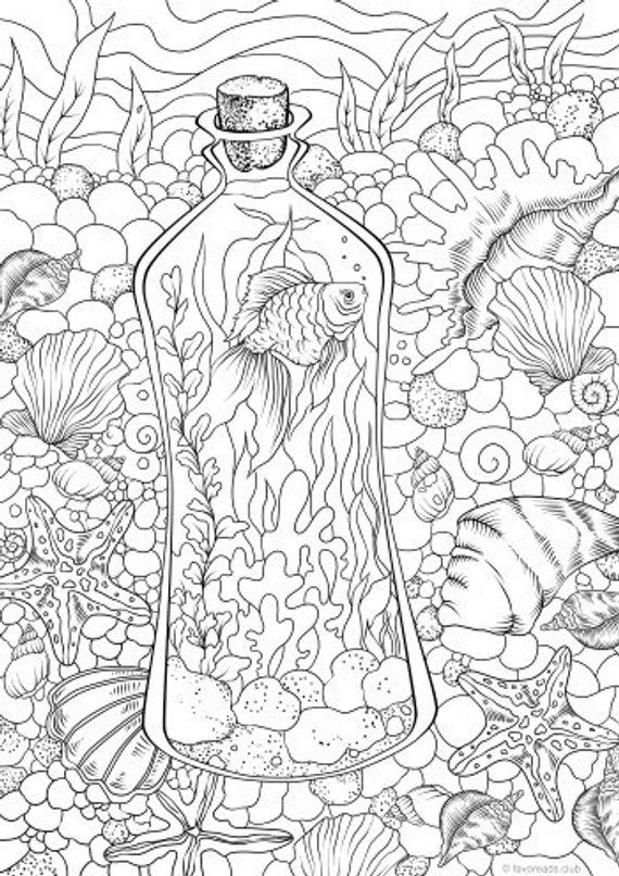 Underwater Printable Adult Coloring Page From Favoreads