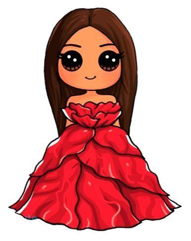 Fille mignon robe rouge