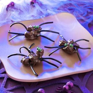 """Halloween Chocolate Spiders Recipe- Recipes  """"Turn your kitchen into a 'web site' by preparing a batch of these creepy candy spiders,"""" chuckles field editor Sandi Pichon of Slidell, Louisiana."""