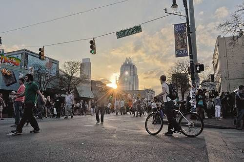 People walk around Austin during South By Southwest