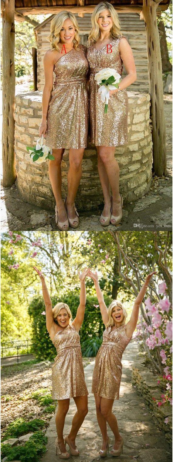 Short ridesmaid Dresses, Gold Bridesmaid Gowns,One Shoulder Bridesmaid Gowns, Sequines Bridesmaid Dresses, V-Neck Bridesmaid Dress,Simple Wedding Party Dress, Pleats Bridesmaid Dress