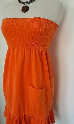 Plush & Lush juniors orange, strappless, beach dress, size small  $.99