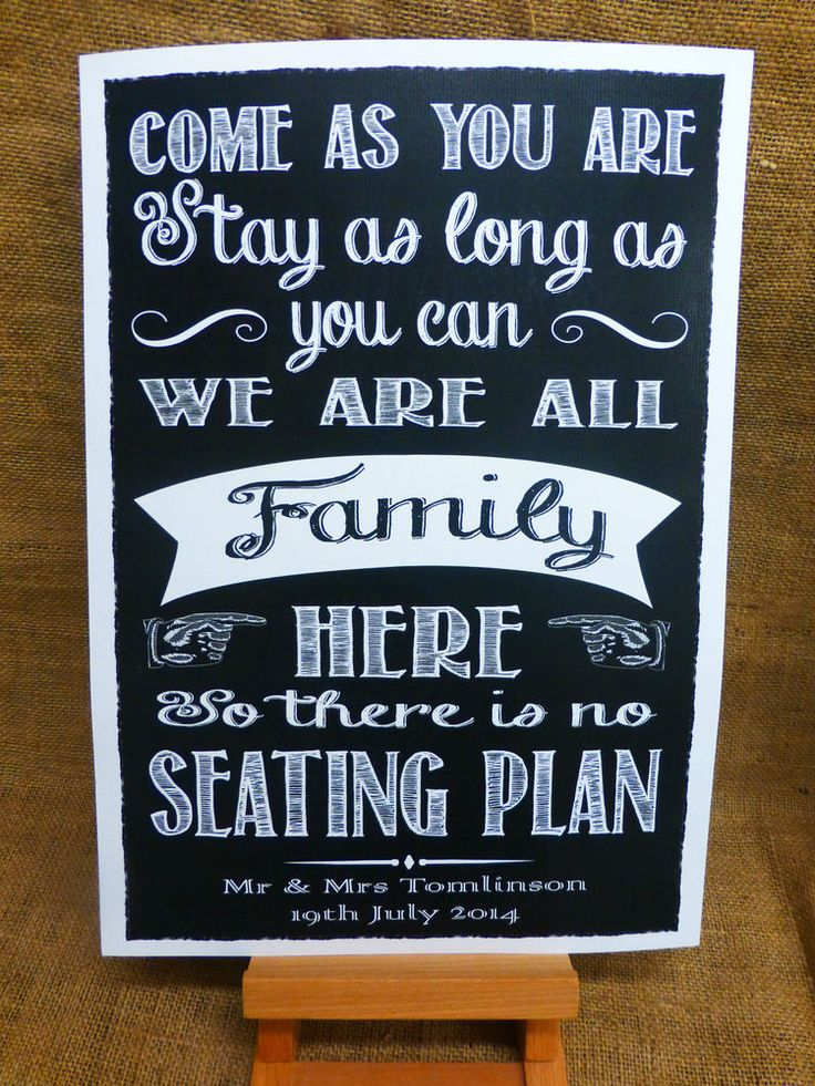NO SEATING PLAN SIGN A3 Vintage Chalkboard style PERSONALISED WEDDING £10