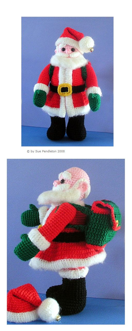 """Here comes Santa - free crochet pattern. He stands 12"""" tall and his head, arms and legs are jointed with plastic safety joints. #amigurumi #Christmas"""