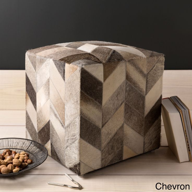 Cattle Range 18-inch Leather Cowhide Cube Pouf (