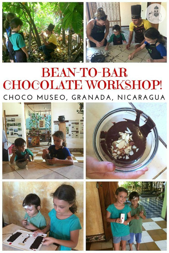 Nicaragua with Kids: Charlie and the Choco Museo, Granada. Learning to make chocolate in Nicaragua! We experience a 'Cacao Bean to Chocolate Bar' workshop at the Choco Museo in Granada, and come away having made our very own chocolate bar. (Steps include roasting, grinding, conching - see video). We also learn how to make chocolate drinks using Mayan, Aztec and European recipes.