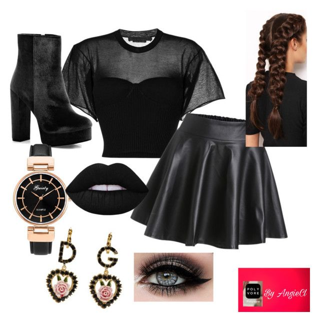 🖤 by angiecl on Polyvore featuring polyvore, fashion, style, Alexander Wang, Boohoo, Dolce&Gabbana, LullaBellz, ASAP and clothing