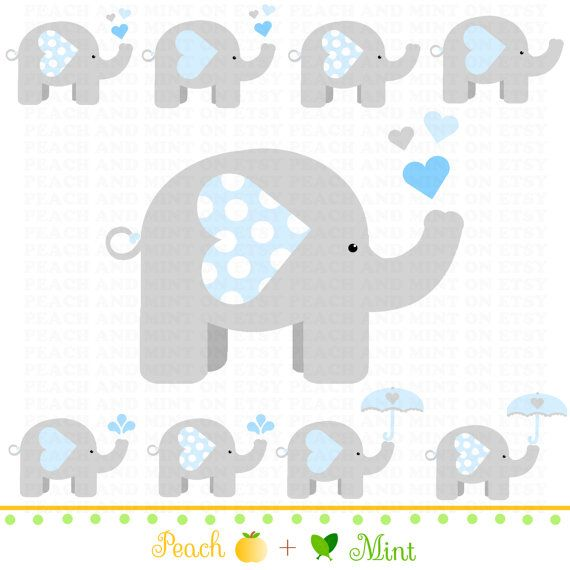 Muchacho bebé elefante Clip Art gráficos de por PeachAndMint