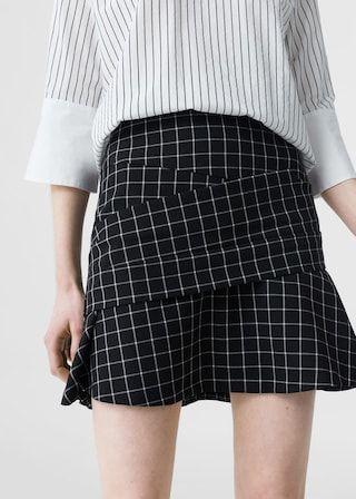 Check flared skirt -  Women | MANGO USA