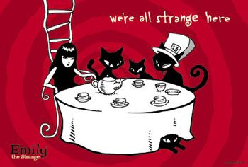 """We're all strange here."" Emily Strange and friends as the Mad Hatter's tea party. Emily makes a wonderful Alice."