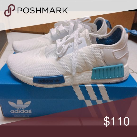 Adidas NMD white & blue Adidas NMD R1 Blue Glow Shoes Sneakers