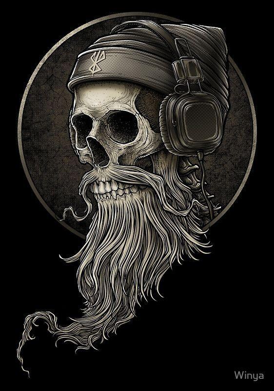 """Winya No.99"" Posters by Winya | Redbubble https://www.redbubble.com/people/winya/works/23291849-winya-no-99?p=long-t-shirt&style=long-t-shirt&body_color=black&print_location=front skull,beard,mustache,hipster,man,old man,headphone,popular culture,two tone,line work,manga studio,listen,brown,vintage,bad ass,dead,death,myth,darkness,dark,tattoo design,fantasy,spooky,devil,horror,bone,skeleton,soul,punk,punk rock,sick,dope,cool,street art"