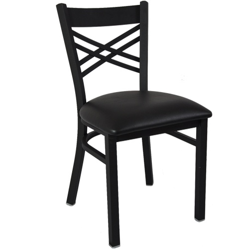 Advantage Black Metal Restaurant Chair Cross Back Style / Black Padded - These quality constructed black metal and black padded restaurant chairs are durable and sturdy featuring 18 gauge steel powder coated frames and heavy duty, black vinyl padded seats with 2-lb density virgin polyethylene foam cushioning. These black metal cross back restaurant chairs also feature a cross back restaurant chair design that are constructed from 14 gauge stamped steel.  [RCXB-TBFBV]