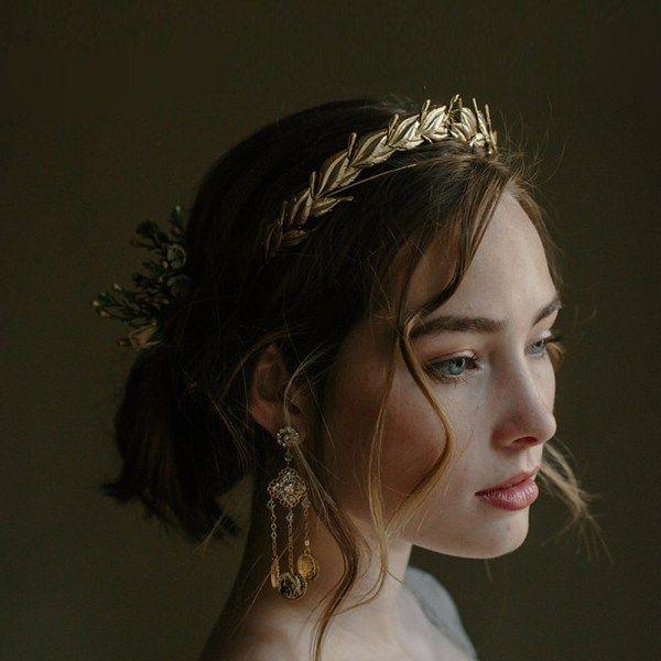 VICTORY LAUREL LEAF WEDDING DIADEM | Erica Elizabeth Designs wedding accessories, bridal veils, crowns