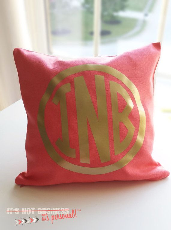 Monogram Throw Pillow Cover - Metallic Gold or Silver Monogram on Etsy, $25.00 For my small??