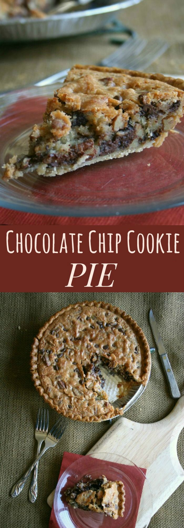 Chocolate Chip Cookie Pie - a giant cookie in a crust! The ultimate dessert recipe!   cupcakesandkalechips.com
