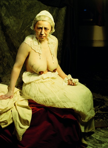 Cindy Sherman: all her work is self portraiture....so this is her dressed as an old woman