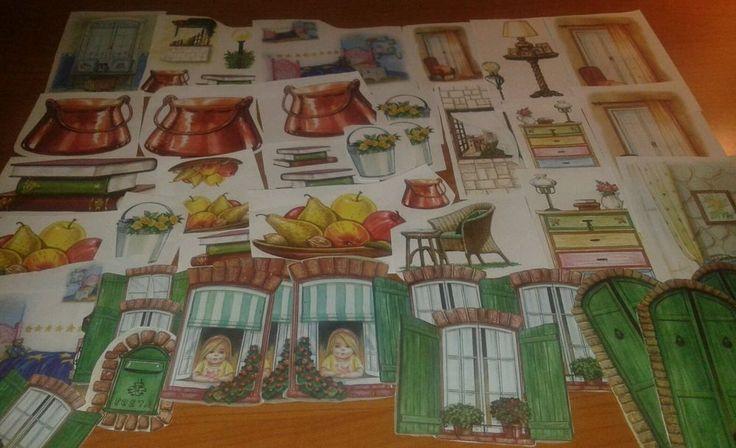 40 ritagli misti da carte per decoupage porte, finestre ,frutta,  per tegole