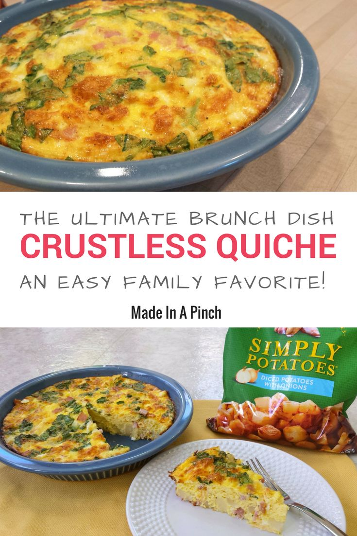 Use Simply Potatoes in this ultimate crustless quiche recipe! This recipe is easy to make and a family favorite, so even kids love it.  Plus, it gives that special touch that makes you look like you cooked all morning long! #quiche #brunch #brunchideas #recipes #recipeideas