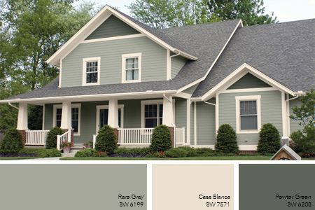 Gray green exterior paint remodel ideas pinterest for Outdoor home color ideas