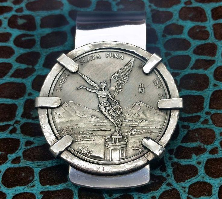Sleek 6pt Bezel Winged Angel of Victory 935 Argentium Sterling Silver big super thick money clip by Phantom.