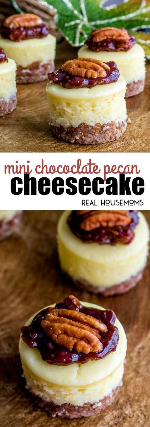 This easy Mini Chocolate Pecan Pie Cheesecake recipe is a fun twist on a classic pecan pie! via @realhousemoms