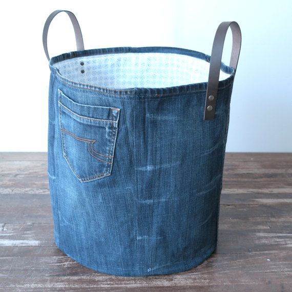 large storage basket made of old jeans laundry basket by Lowieke