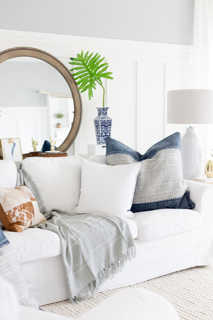 All white living room - White Slipcovered Sofa Large Mirror Living Room All White D Cor Cozy D Cor Ideas