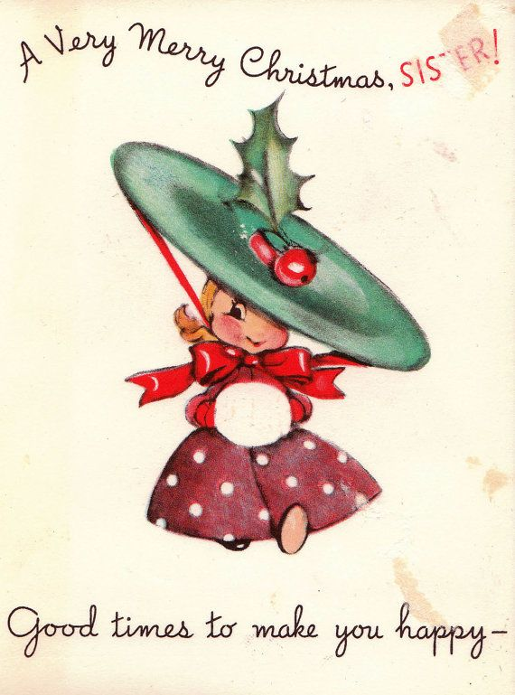 Vintage 1940 A Very Merry Christmas Sister  Card