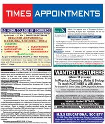 Times Appointments (Recruitment) Ad Rates. Times of India Newspaper Job Situation Vacant Advertising
