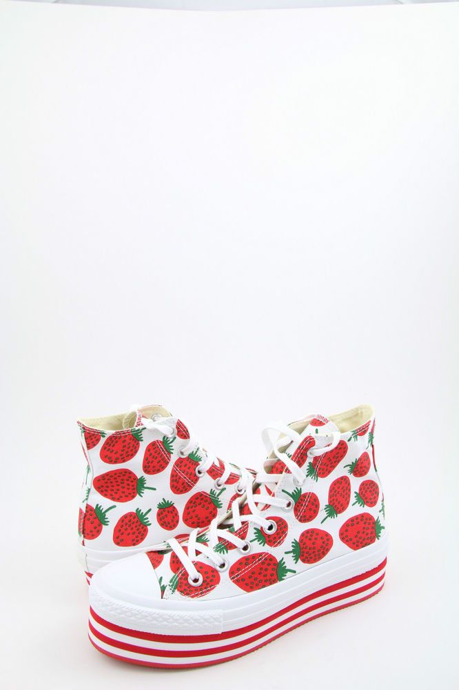 Converse All Star Strawberry Sneakers Women's Platform Trainers #converse #strawberry