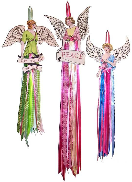 Ribbon Angel Ornament/Dolls.........could use pretty Christmas fabric strips as well. Paper Dolls @ TenTwoStudios