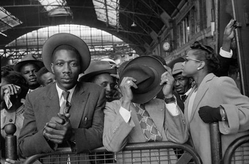 West Indian Arrivals, Picture Post, 1956. by cheryldecarteret on Flickr.West Indian Arrivals: West Indian immigrants arrive in London, after their journey from Southampton Docks, 1956.
